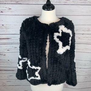 Belle Vere Black Star Sweater Jacket Sz Medium